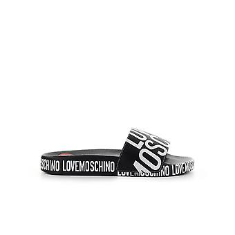 LOVE MOSCHINO BLACK SLIDE WITH LOGO