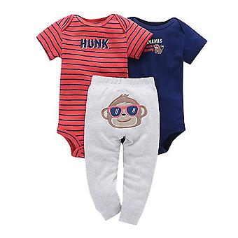 3Db Baby Outfit, Bodysuit, Felső és Nadrág -Napszemüveg Monkey