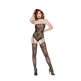 Dreamgirl One Size Black Strapless Fishnet and Lace Teddy Bodystocking