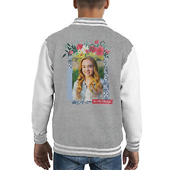 Holly Hobbie Be The Change Floral Border Kid's Varsity Jacket
