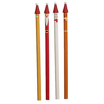Crayon de caractère de Noël amusant 4 fourni