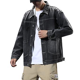 Allthemen Men's Heavyweight Lapel Solid Thin Denim Jacket