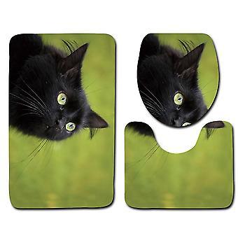 3PC Toilettenmatte Katze 3D