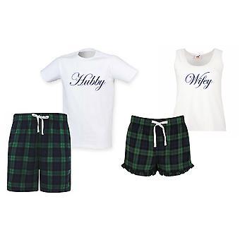 Hubby Wifey Tartan Scurt Pyjama Cupluri Set
