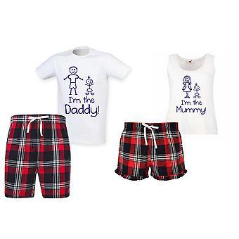 Ho Ho Tartan jul kort pyjamas par sæt