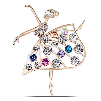 Delicate Corsage Dancer Shape Girl Brooch Electroplated Rhinestone Brooch Pin