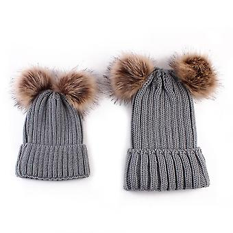Baby & Mom Winter Knit Warm Soft Beanie Hat Hairball Cap