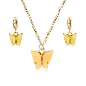 Acrylic Butterfly Pendant Earrings, Necklace Combination Set, Alloy Chain