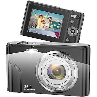 HanFei Digitalkamera, 1080P Full HD Fotokamera, 36,0 Megapixel 16X Zoom-Kompaktkamera mit 2,4 Zoll
