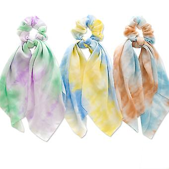 3pcs Rainbow Hair Tie Scarf Ponytail Holders For Women Girl
