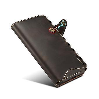 ekte lær lommebok tilfelle kortspor for iPhone 7/8 svart på673