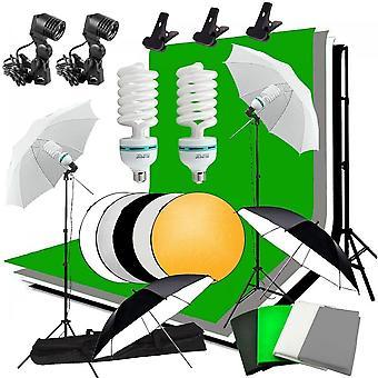 استوديو مظلة صورة الإضاءة الخلفية كيت + 4 الخلفيات + 2 المظلات +