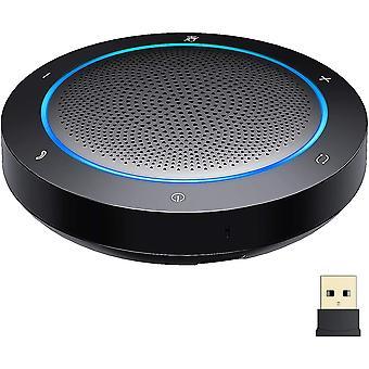 Alto-falante Bluetooth com microfone, alto-falante de conferência de cancelamento de ruído, conexão USB / Dongle / Bluetooth, compatível com aplicações de conferência do Home Office,Preto