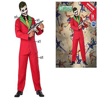 Kostym för vuxna Manlig clown Joker Röd