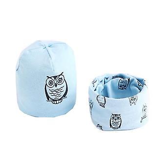 Plush Hat Scarf, Owl Print, Neck Collar, Cotton Set-1