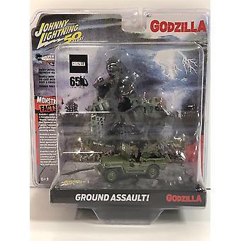 Willys MB Jeep with Godzilla Diorama 1:64 Scale Johnny Lightning JLDR007