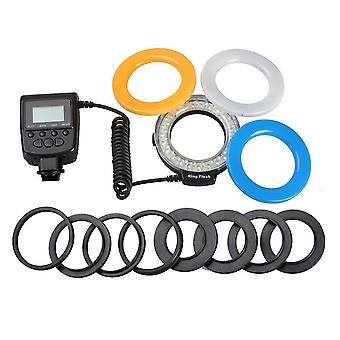 48 Led Macro Ring Flash Light For Nikon/canon/olympus Camera With 8 Lens And Adapter