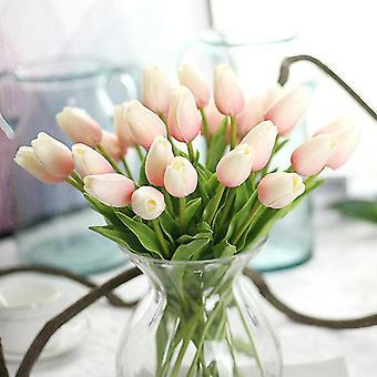 10 PCS Tulipán Flor Artificial Real Touch Ramo Artificial Flor Falsa para la decoración de la boda