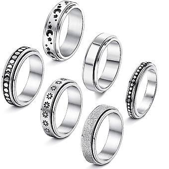 6pcs טבעת רטרו להגדיר כוכב ירח מגולף טבעת אצבע סיבובית לטקס
