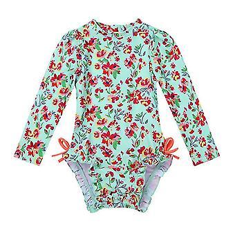 Småbarn Flickor Långärmad UPF 50+ Rash Guard Badkläder 12-18Månader