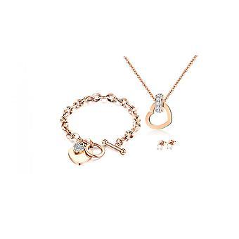 Talia Jewellery Set täckt med kristaller från Swarovski - Rose