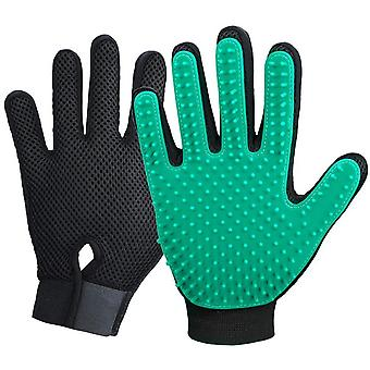 Pet Grooming - Sweet Dust Brush Gloves - Effective Pet Hair Removal Gloves - Improved Five Finger Design - Perfectly Matching Long-haired Cats And Dog