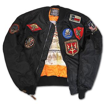 Top Gun MA 1 Nylon Bomber Jacket with Patches Black