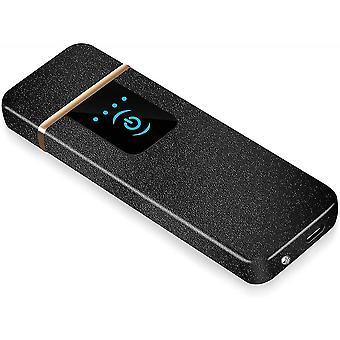 Usb  Rechargeable Lighter Touch Screen Windproof Flameless(Black)