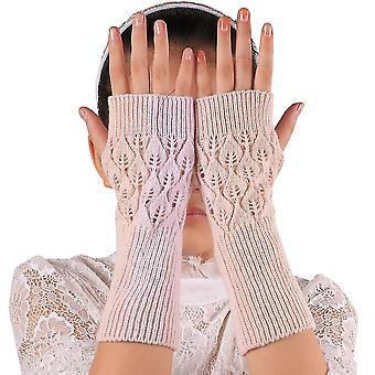 כפפות רקומות יד ארוכות לנשים סרוגות חמות לשחור חסר אצבעות בחורף
