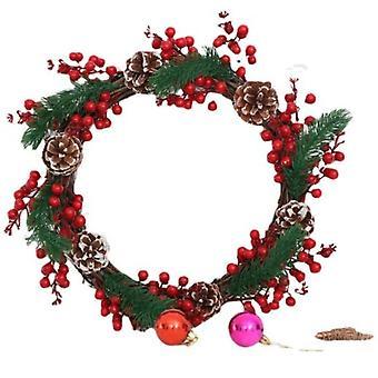 Christmas Red Pine Cones Vine Circle Wreath Door Hanger