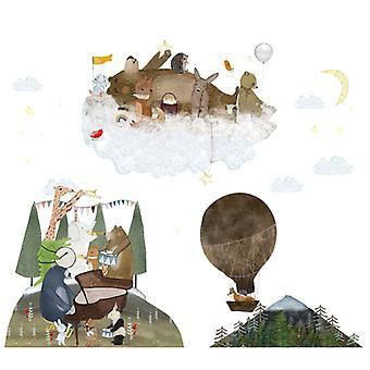 tegneserie dyr konsert vegg klistremerke dekal (størrelse: 90cm x 77cm)