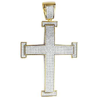 Premium Bling - 925 Sterling Silber XL Kreuz Anhänger gold