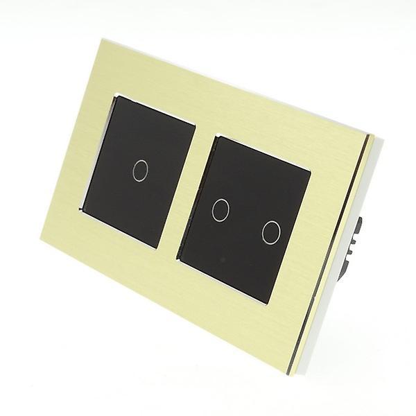 I LumoS Gold Brushed Aluminium Double Frame 3 Gang 2 Way Remote Touch LED Light Switch Black Insert
