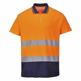 sUw - Two Tone Cotton Comfort Short Sleeve Reflective Polo Shirt