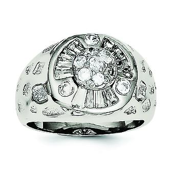 925 Sterling Silver Solid Textured Polished Open back Mens CZ Cubic Zirconia Simulated Diamond Ring Jewelry Gifts for Me