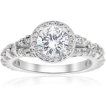 1 1 / 4ct Halo Split Shank diamant forlovelsesring 14K hvitt gull