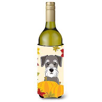 Schnauzer Thanksgiving Weinflasche Getränk Isolator Hugger