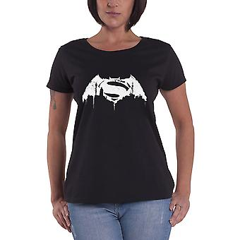 Official Batman T Shirt Beaten Logo Womens New Black Skinny Fit