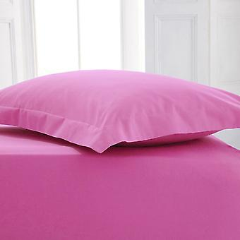 Percal Polycotton plana hoja doble rosa