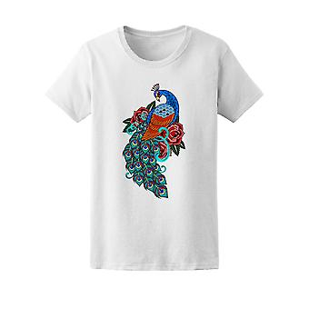 Peacock And Roses Old School Tee Women's -Image by Shutterstock