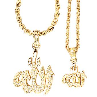 Iced out bling mini chain pendant set - 2 x ALLAH gold