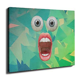 Overraskelse ansikt Cool vegg kunst lerret 40 cm x 30 cm | Wellcoda