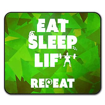 Eat Sleep Lift Gym Sport  Non-Slip Mouse Mat Pad 24cm x 20cm | Wellcoda