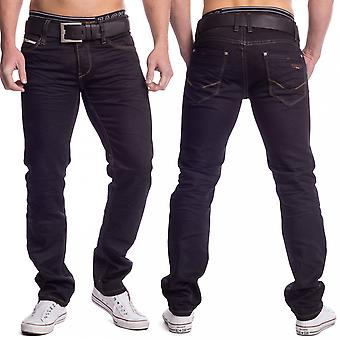 Mens Jeans black colored denim Slim Fit Straight Leg Stretch Trousers classic perfect fit