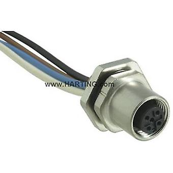 Harting 21 03 311 2400 Sensor/actuator built-in connector M12 Socket, built-in No. of pins (RJ): 4 1 pc(s)