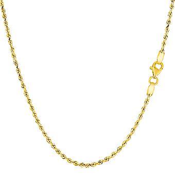 14k желтое твердых золото огранки веревки цепи ожерелье, 1,5 мм