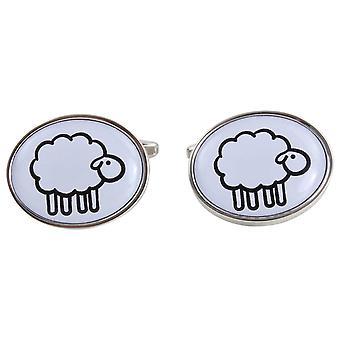 Zennor Sheep Illustration Cufflinks - White/Silver