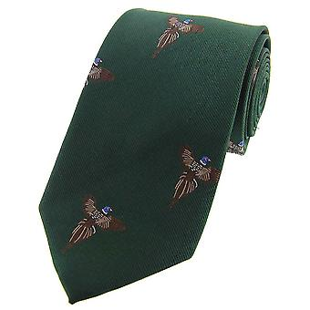 David Van Hagen battenti fagiani tessuto cravatta di seta di paese - verde foresta