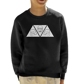 Original Stormtrooper Line Art Helmet Trio Kid's Sweatshirt