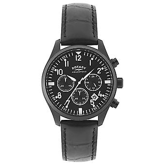 Rotary Mens Chronograph | Black Leather Strap | Black Dial GS00110/04 Watch